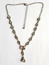 50cm Length, Good Condition Silver Coloured Sparkly Drop Necklace,