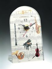 Music Instrument Glass Clock, 7 inches tall, by Broadway Gifts