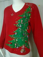 JACK B. QUICK RED Beaded sequined Pretty Ugly Christmas Tree V Neck Sweater SZ M