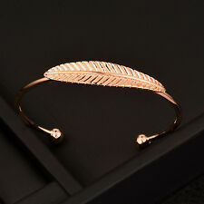 Simple Olive Leaf Bangles Open Adsjustable Bracelet Rose Gold Plated Jewelry