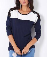 Navy Blue Top Size 16 Ladies Womens Crochet Shoulder Long Sleeved T-Shirt