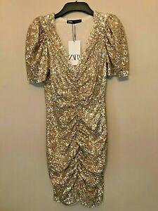 BNWT ZARA LIMITED EDITION GOLD SEQUIN DRESS SIZE M