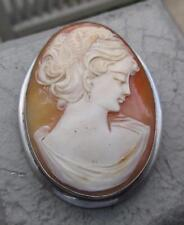 Lg Carved Shell Cameo 800 Silver Frame Pin Brooch & Signed