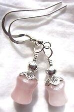 Sterling Silver Hook Gemstone Rose Quartz Bamboo Kirsten EARRINGS USA Handmade