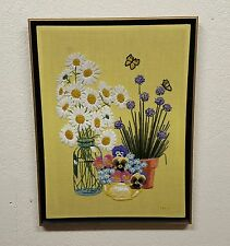 Vintage Framed Crewel Embroidery Floral Art Wall Hanging Nature Daisies