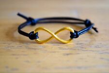 Black Leather Bracelet Infinity Friendship Mens Womens Anniversary Gift