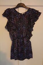 Ladies 'NEW LOOK' Blue spotted sheer cap sleeve Top. Size 10. vgc.