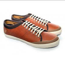 Fred Perry Hellier Leather Trainer Shoes/Tan - 8 CLEARANCE WAS £75.00