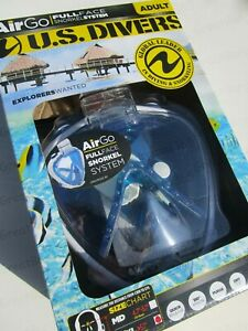 US Divers AirGo Adult Full Face Snorkel Mask System Diving Snorkeling S M L XL