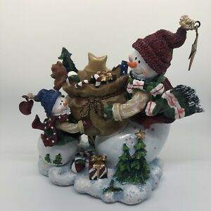 Home Interiors Candle Holder With Snowmen - Christmas Decor