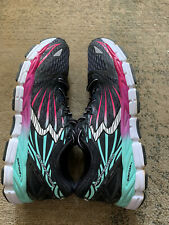 Asics 361 Sensations 2 Running Shoe Womens Sz 12 Black W/ Pink,green And White