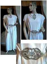 Robe déesse grecque tunique. Guipure broderie argent perle .T 38-40. MAGNIFIQUE!