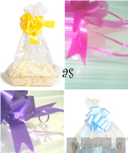 X LARGE Clear Cello Bags, Bow HAMPER Cellophane Wrap DIY GIFT WEDDINGS BABY Mum