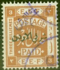 More details for transjordan 1922 5/10p on 3m yellow-brown sg22d violet surcharge v.f.u