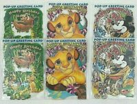 Disney Pop Up Birthday Card Set of 6 Pop Shots Mickey Simba Timon Pumba Vintage