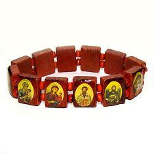 Bracelet religieux en bois avec icones orthodoxes russe - Bracelet des Saints
