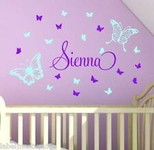 Any Custom Name Lg Butterflies Hearts Wall Stickers Decor Girls Room Butterfly