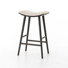 "30"" Tall Set Of 2 Saddle Bar Counter Stool Solid Oak Base Carbon Finish"