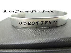 "BESTIES - Custom Hand Stamped Name Bracelet Aluminum Cuff Bracelet 3/8 X 6""."