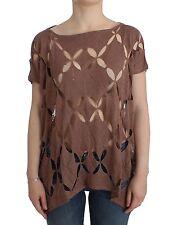 NWT $300 JOHN GALLIANO Brown Lightweight Knit Sweater Jumper Cut Out S /US 6