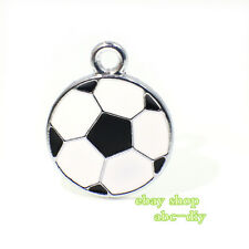 10pcs DIY Enamel soccer Hang Pendant Charm Fit Necklace Phone strips-1