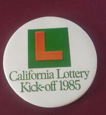 "Collectible CALIFORNIA STATE LOTTERY PINBACK BUTTON PIN ""KICK-OFF"" 1985"
