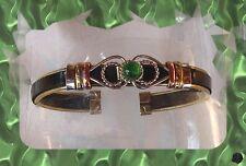 Bracelet Ouvert Rigide Ethnique Du Pérou 3 Métaux Caoutchouc Verre Murano Vert