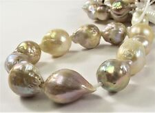 12-14 x 15-17 mm Half Strand Large Hole Natural Baroque Pearl 2 mm Hole (#239)