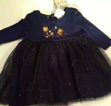 baby girl dress 6-12 M Mini Moi cute blue gold sparkle elephant & flowers new