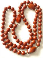 VINTAGE ESTATE Jewelry 14 KT YELLOW GOLD RED JASPER HAND KNOTTED BEAD NECKLACE