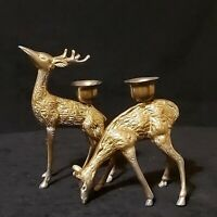 Vintage Brass Buck And Doe Taper Candlestick Holders Lot of 2 Preowned