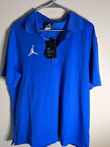 $75 Jordan Statement Polo Premium Golf Shirt Men's Size Large Royal Blue NEW !
