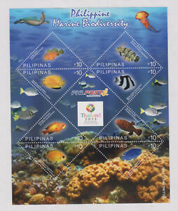 Philippine Stamps 2013 Marine Biodiversity Sheet with Thailand ovpt  label. MNH