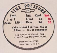 1967 Corvette Tire Pressure Decal