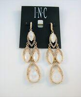 Inc gold tone clear crystal & white Navette chandelier earrings