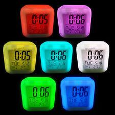 LED multifunción cubo despertador alarma despertador colores cambiantes despertador + termómetro