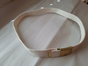 """Youth Boys Webbing Belt, White/ with brass buckle -Size 36.5"""""""