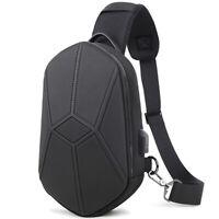 Men's Sling Backpack Oxford cloth Waterproof Crossbody Bag USB Port OutdoorSport