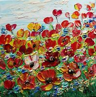 Red Orange Poppies Windflowers Oil Painting square canvas  ORIGINAL ART