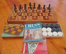 Chess Set With Wooden Playing Board / Container + Chess Books + Boxed Draughts