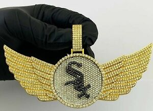 14 k Yellow Gold Over hip hop iced out flying Sim Diamond pendant gift for him