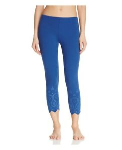 HUE EYELET TRIM Cotton Capri LEGGINGS RIVIERA BLUE Size XS $34 - NWT