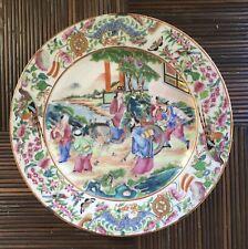 Assiette Ancienne Porcelaine De Chine Canton Scène Personnages Chinois XIXe