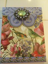 PUNCH STUDIO BIRDS & FLOWERS  JEWELED POCKET NOTE PAD MAGNETIC CLOSURE-GOLD FOIL