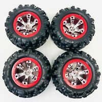 4 x Traxxas Summit 1/16 Canyon AT Tyres & Geode Chrome/Red Wheels Assembled