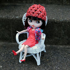 Distressed Red Knitted Beanie for Blythe - Ribbed Brim Loom Knit Doll Hat