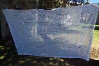 Large Prettiest Vintage French Machine Crochet Lace Tablecloth Throw 4ft x 7ft