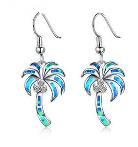 Fashion Coconut Blue simulated Opal Earrings Hook Drop Dangle Earring Jewelry Q