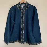 Keren Hart Jacket Womens Blue Denim Embellished Trim Zip Front Size XL