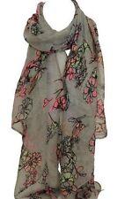 Beautiful Grey Bird and Floral Print Scarf Stole Wrap Shawl Scarves Hijab Head